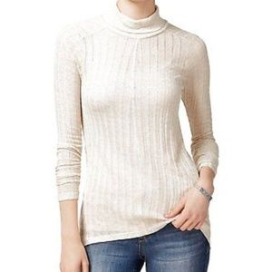 LUCKY BRAND  High Low Knit Turtleneck Sweater